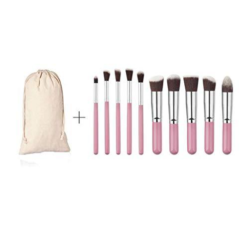 Dinglong 10PCs/1Set en bois nylon fibre laine maquillage brosse ensemble ombre à paupières brosse maquillage outil Fondation brosse cils brosse masque brosse (Rose)