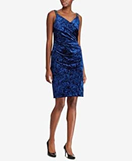RALPH LAUREN Womens Blue Sequin Trim Velvet V Neck Above The Knee Sheath Party Dress US Size: 16