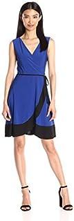 Star Vixen Women's Sleeveless Bodice Tulip Wrap Skirt Short Dress with Self-Tie Belt