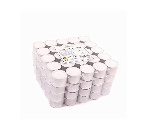 Pajoma Lot de 100 bougies chauffe-plat Blanc Non parfumées Durée de combustion : 8 heures