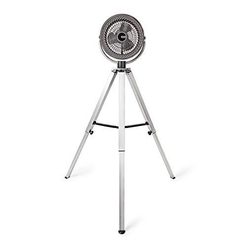 NEDIS Dreibein Ventilator Standventilator - 45 W - Durchmesser von 25 cm - 3 Geschwindigkeiten - Höhe und Position einstellbar - Stecker Euro/Typ C (CEE 7/16) - Gebürstetes Metall Wood 1.50 m
