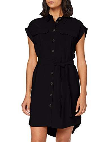 VERO MODA Damen VMVENUS Wide S/L Short Shirt Dress WVN Kleid, Black, M