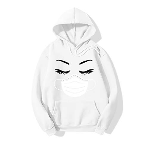 Daryi Coronavi-rus Pullover Fleece Hoodie Fashion Mask Eyelash Print Long Sleeve Sweater Loose Unisex (Color : White, Size : L)