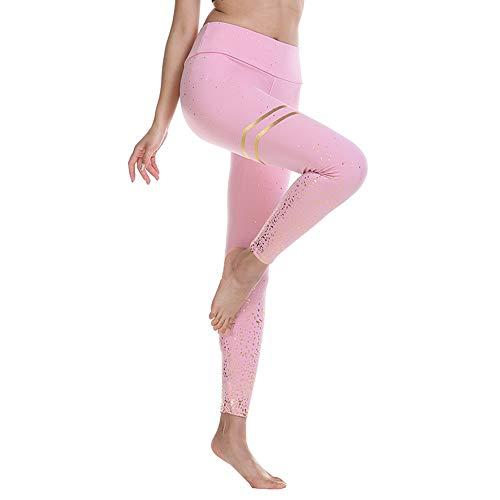 BESIDE STAR 2 Piezas Cintura Alta Pantalón Deportivo de Mujer Leggings Mallas para Running Training Fitness Estiramiento Yoga y Pilates Rosa XL