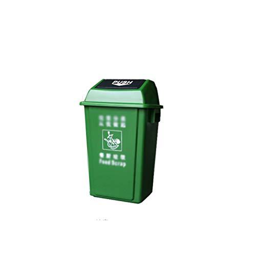 C-J-Xin Straße Garbage Sorting Box, mehrere Größen Shatterproof Große Recycling Bins Spielplatz Square Hotel Garbage Can Hohe Kapazität (Color : Green, Size : 24 * 35 * 45CM)