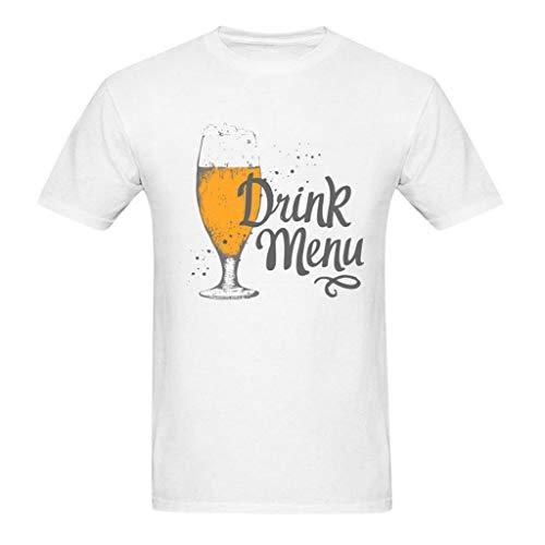 Freizeithemd - Herren Sommer Freizeit Hemd Kurzarm Slim Fit 3D Reise Hawaiihemd für Männer S-XXXXL Mens Fashion Casual Brief Bier Festival Print T-Shirt Basic mit Frontprint und Rundhalsausschnitt