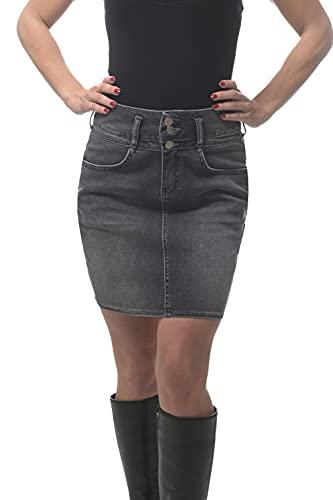 ROCK-IT Apparel Gonna di Jeans da Donna - Figura a Vita Alta - Denim Morbido ed Elastico - Spacco Posteriore - Taglie 34-42 - Nero 40