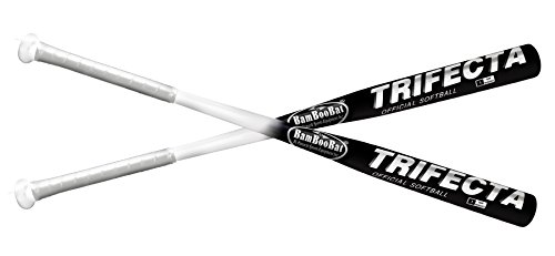 BAMBOOBAT BY PINNACLE SPORTS EQUIPMENT INC 34  Trifecta Bamboo Hickory Softball Bat - (White Black)