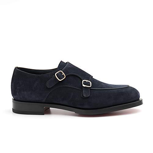 Santoni MCC016036MD1HR0 VU58 Schuh mit Doppelschnalle, Wildleder, Blau - blau - Größe: 40.5 EU