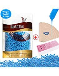 Hard Wax Beans Hair Removal Kit Wax Beads for Facial and Body Hair Depilatory Wax Warmer Kit Brazilian Bikini Waxing 100 Wax Strips and Large 1.1 IB Bag with Coconut Oil for Women and Men