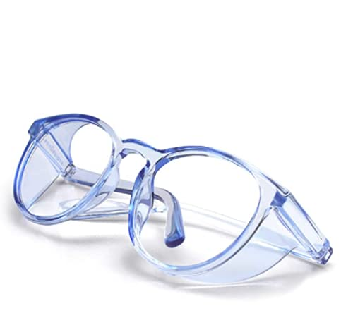 SeeBand Safety Glasses Anti Fog Round Clear Safety Goggles Scratch Resistant with Blue Light Blocking Glasses for Women Men (Clear Blue)