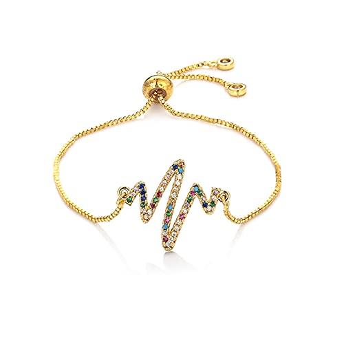 YQSBYI Pulseras de Mujer de Oro Brazaletes Rainbow Heart Devil'S Oche Pulseras Zircones Copos Ajustables Chian Pulsera Joyería para Mujeres Regalos (Length : 16cm, Metal Color : 6)