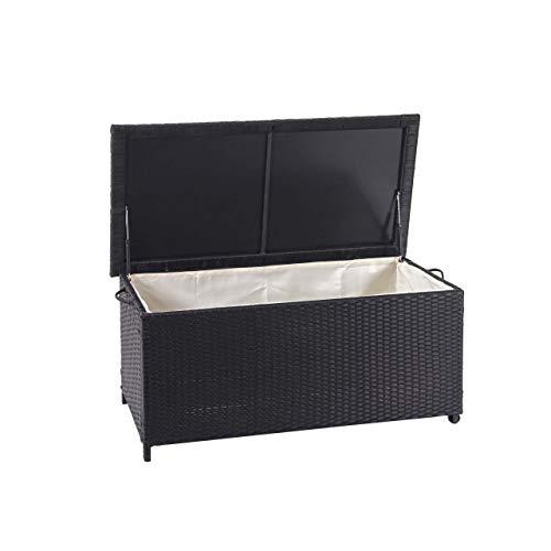 Mendler Poly-Rattan Kissenbox HWC-D88, Gartentruhe Auflagenbox Truhe ~ Premium schwarz, 51x100x50cm 170l