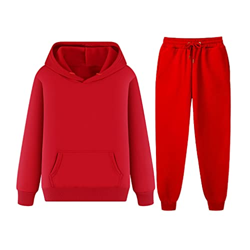 Uomini In Pile Tuta Felpa Set Casual Felpe Con Cappuccio Uomo Jogger Sport Suit, Rosso, XXL