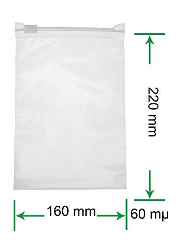 HeiZip 50 x Ziehverschlussbeutel 160 x 220 mm DIN A5, 60 mµ/MY
