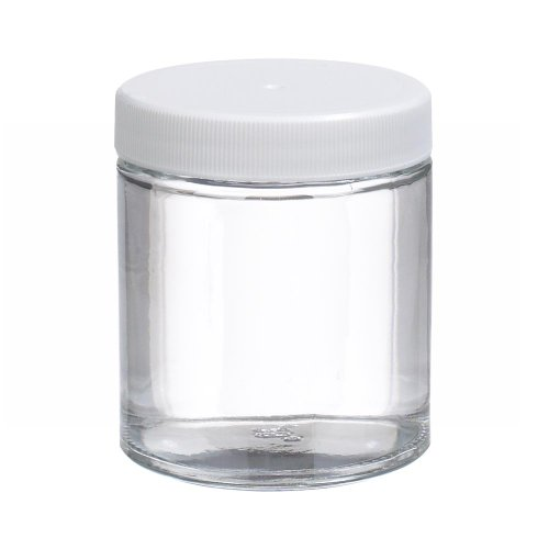 Wheaton W216904 Clear Glass 4oz Straight Sided Jar, with 58-400 White Polypropylene Poly-Vinyl Lined Screw Cap (Case of 24)