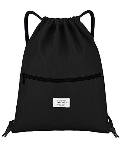 LIVACASA Mochila de Cuerdas Mujer Hombre Bolsas de Cuerdas Bolso Mujer Casual A Prueba de Agua Impermeable Bolsillo Exterior Extra Ajustable Correas de Hombros (43×33cm, Negro Puro)