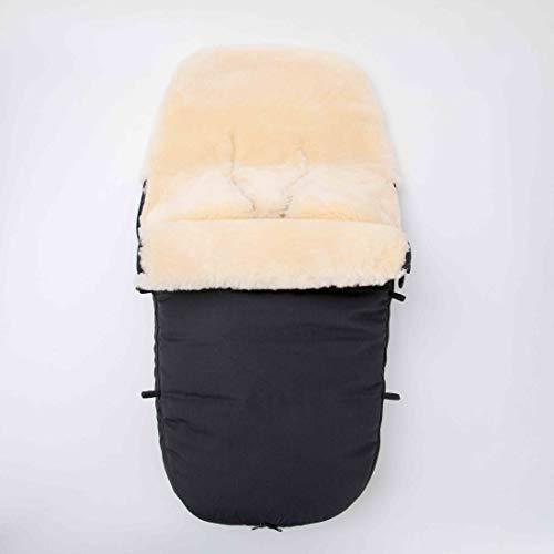 Merauno Saco de abrigo para bebé de piel de cordero, para cochecito, saco de abrigo para cochecito, resistente al viento y al agua, con cremallera completa, curtida médicamente 90 x 50 cm (negro)