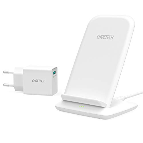 CHOETECH Fast Wireless Charger mit QC 3.0 Adapter, 15W/10W/7.5W Induktive Ladestation,7.5W Qi Ladegerät für iPhoneSE/11/11Pro/11Pro Max/XS/XS Max/XR/X/8, 10W für Samsung, Huawei, 15W für LG,Sony