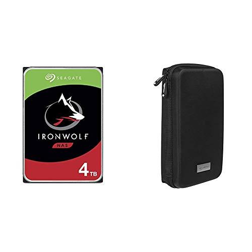 Seagate IronWolf 4 to HDD, Disque Dur Interne NAS (8,9 cm (3,5 Pouces), 5900 TR/Min, CMR, 64 Mo de mémoire Cache, Argent) & Amazon Basics Etui de Voyage Universel pour GPS de 3.5 à 4.3 Pouces