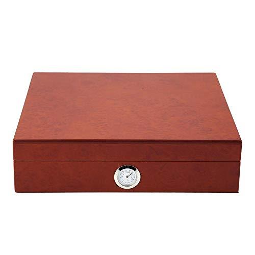葉巻ケース 保湿 シガーホルダー スペイン杉 湿度計付き 約20本収納可能 ヒュミドール 木製 シガー収納ケース 葉巻保管 (ブラウン)