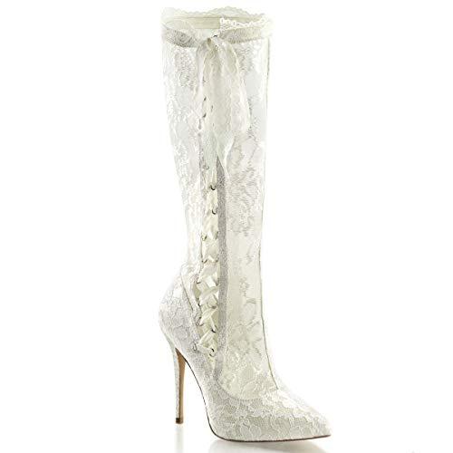 Fabulicious Pleaser Amuse-2012 sexy High Heels Schnür Stiefel, Ivory Satin-lace, 40 EU