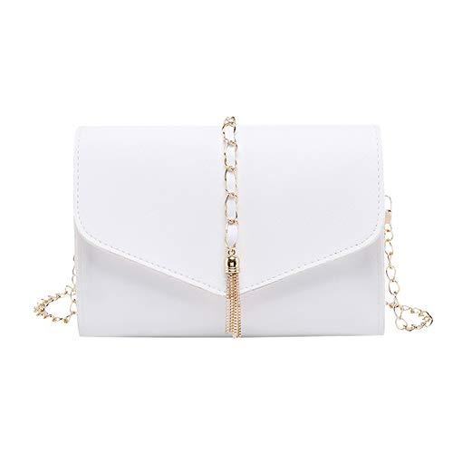 ZAVAREA Kleine quadratische Tasche mit Metallfransen Volltonfarbe Umschlag Kette Umhängetasche Kunstleder Umhängetasche (White)