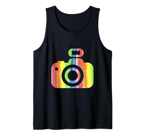 Minimalista sencilla cámara LGBTQ fotógrafo Camiseta sin Mangas