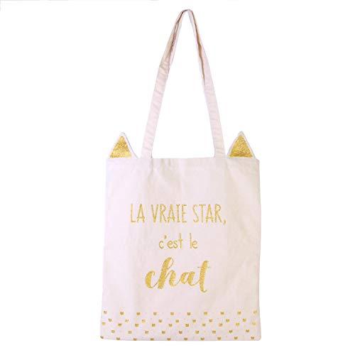 Sublimagecreations Tote Bag personnalisé Chat : Sac 3D Chat : idée Cadeau Fan de felin (Beige)