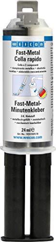 WEICON Fast-Metal Minute colla epossidica a presa rapida, siringa doppia 24 ml, caricato con metallo