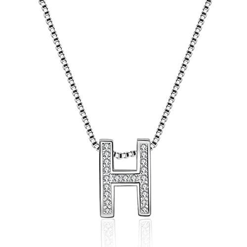 Colgante de collar ZIYUYANG, collar con colgante enforma de letra H decirconita deplata esterlina