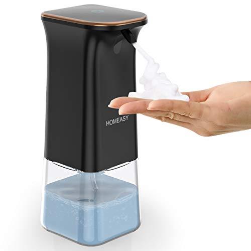 homeasy Seifenspender Schwarz 350ml Automatischer Schaumseifenspender No Touch Soap Dispenser mit Halterung