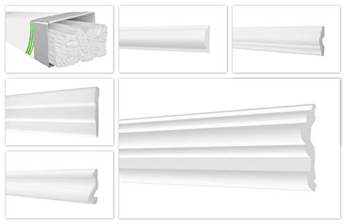 HEXIM Listones de pared en O de poliestireno XPS – Listones de estuco de alta ligeros y robustos en un diseño moderno – (paquete ahorro de 20 metros FG6-70 x 20 mm) de perfil plano para