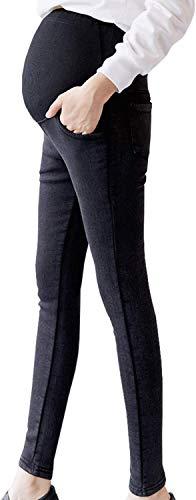 日本ブランドSHIWEI 妊娠のズボン ゆったり マタニティ デニム ストレッチ パンツ スキニー 美ライン産前 産後 カジュアル M~2XL (スタイル2ブラック, L)