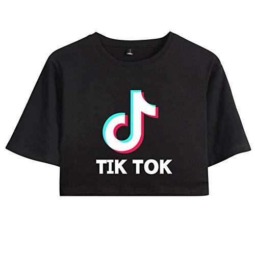 TIK Tok Camiseta Corta Estampada Mangas Cortas Camiseta Crop Top Cuello Redondo Tops Blusa Camisa Suéter para niños y niñas C00605-TX13-1-S