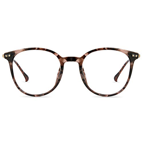 Zinff Brille Anti blaues Licht UV400 Anti Fatigue Anti Reflection Blaulichtfilter Oval Vintage Retro Oversize TR90 Ultra Light Großer Rahmen für Frau Mann Bildschirm Computer Telefon (Rosa Leopard)