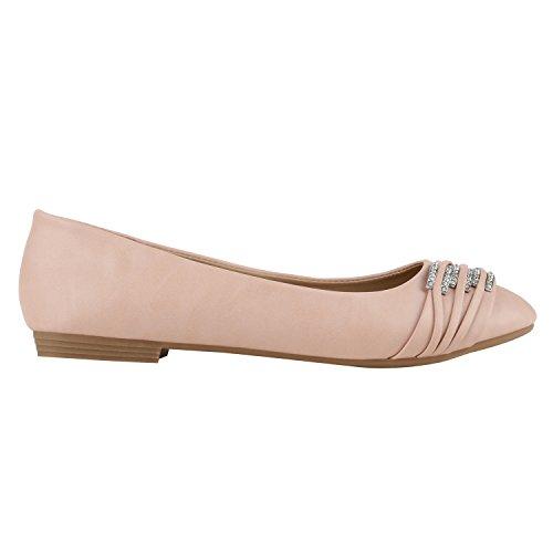 stiefelparadies Klassische Damen Strass Ballerinas Elegante Slipper Übergrößen Metallic Glitzer Flats Schuhe 141942 Apricot 36 Flandell