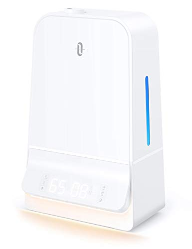 TaoTronics Humidifiers 6L Cool Mist Humidifier with Humidistat LED Display 26dB Whisper Quiet Wide Opening Humidifier for Large Bedroom White TT-AH044