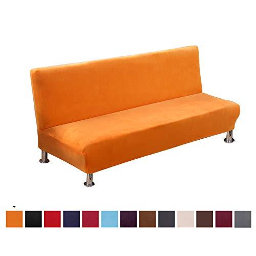 PETCUTE Sofabezug ohne armlehne futonbezug Stretch sofahusse ohne armlehne sofaüberwurf schlafsofa bezug ohne armlehne Orange