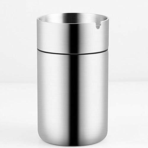 ASZX Cenicero de Acero Inoxidable Prueba de Viento con Tapa Coche de Gran Capacidad con Papelera para Cigarrillos de Oficina al Aire Libre
