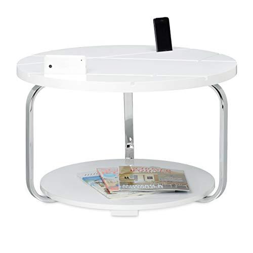 Relaxdays Table basse HxlxP: 42 x 70 x 70 cm table d'appoint canapé plateau rond table en bois support avec 2 tablettes double rangement console de salon cadre en métal espace porte téléphone, blanc