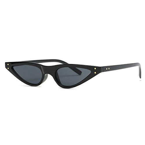 kimorn Gafas De Sol Para Mujer Bisagras De Metal Pequeña Ojos De Gato Marco De Plástico K0578 (Negro)