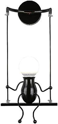 FSTH Simple Poupée De Mode Balançoire Enfants Applique Murale Moderne Salon Chambre Créative De Chevet Mur Lumière Vacances/Cadeau De Mariage (Noir)