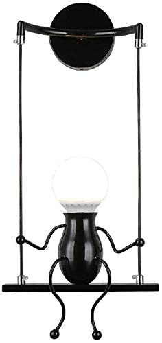 FSTH Creativo Lámparas de Pared Simple Fashion Doll Swing Lámpara de Pared Moderna Apliques de Pared Metal Lámpara de Pared para Dormitorio, Escalera, Pasillo, Restaurante, Cocina E27 (Negro)