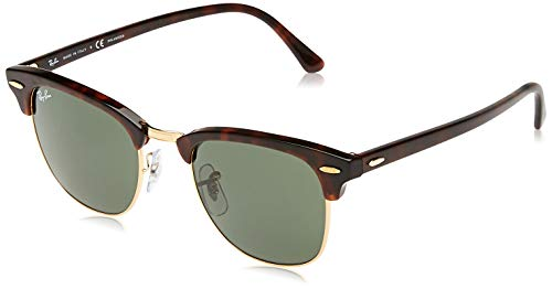 Ray-Ban RB 3016 Clubmaster Square Sunglasses, Mock Tortoise Gold/Green, 51 mm