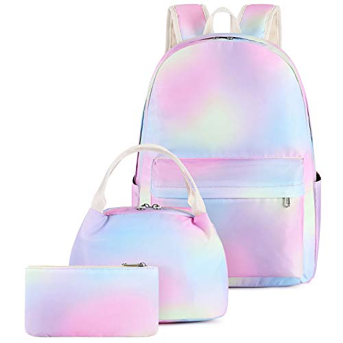 Pawsky Rainbow Teen Girls School Backpack, Lightweight Water Resistant Backpacks for Teen Girls with Lunch Bag and Pencil Case