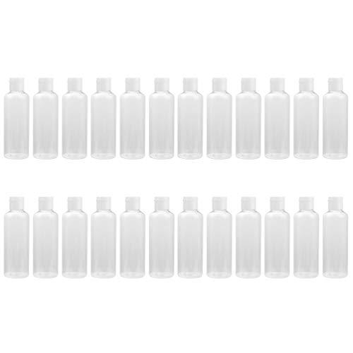 SOLUSTRE 24pcs 50ml Plastic Empty Bottles with Flip Cap Refillable Cosmetic Toner Lotion Bottles