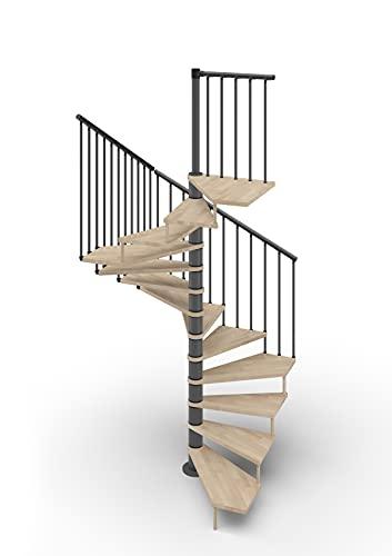 Escalera de caracol de planta cuadrada 105 x 105 cm. Tekla 13 peldaños – Altura entre los pisos 267 – 312 cm. (natural, acero antracita)