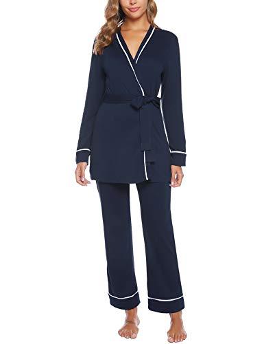 iClosam Pyjama Femme Hiver, Pyjama Kimono Femme Chic en Coton Manche Longue Chaud Ensemble de Pyjama Femmes Bleu Marine S