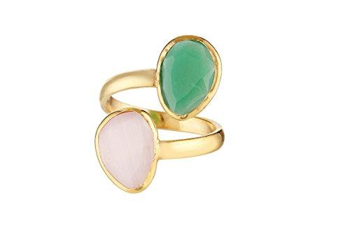 Córdoba Jewels | Anillo en Plata de Ley 925 bañada en Oro. Diseño Tú y Yo Kiut Cuarzo Rosa Esmeralda Oro